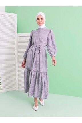 Loreen Kadın Gri Volan Detaylı Elbise
