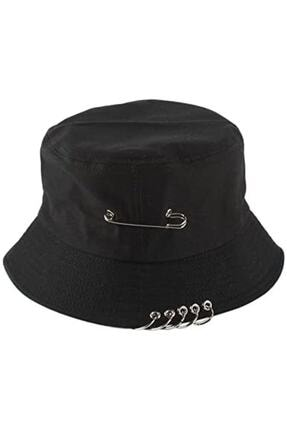 Köstebek Piercingli Siyah Bucket Hat Kova Şapka