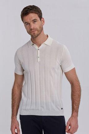 Hemington Erkek Ipek Karışımlı Çizgili Kırık Beyaz Triko Polo