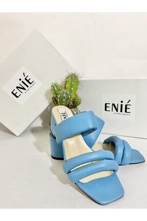 Enié by Ebru TAŞÇIOĞLU Pastel Mavi Topuklu Terlik