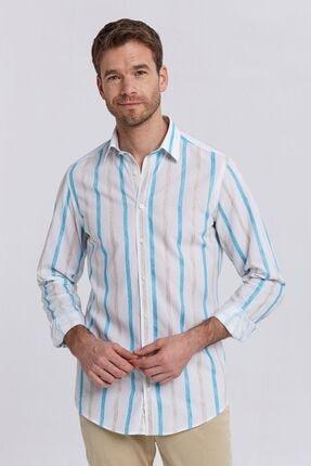 Hemington Erkek Beyaz Turkuaz Çizgili Yazlık Business Gömlek