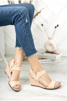 Deripabuc Hakiki Deri Bej Kadın Dolgu Topuklu Deri Sandalet Dp38-1130