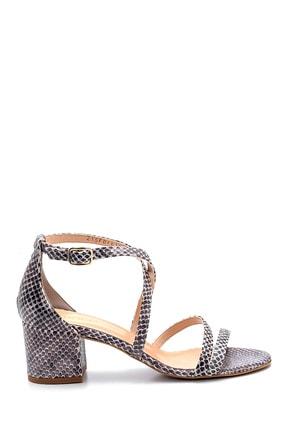 Derimod Kadın Lacivert Deri Detaylı Topuklu Sandalet