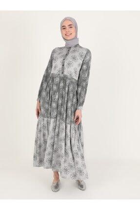 Loreen Siyah Çiçek Desenli Elbise