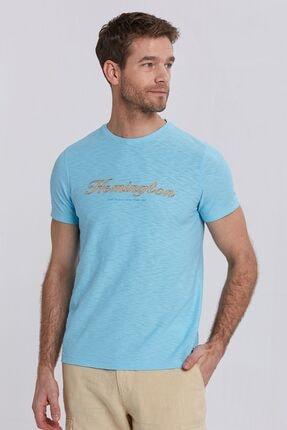Hemington Erkek Logolu Bisiklet Yaka Turkuaz Pamuk T-shirt