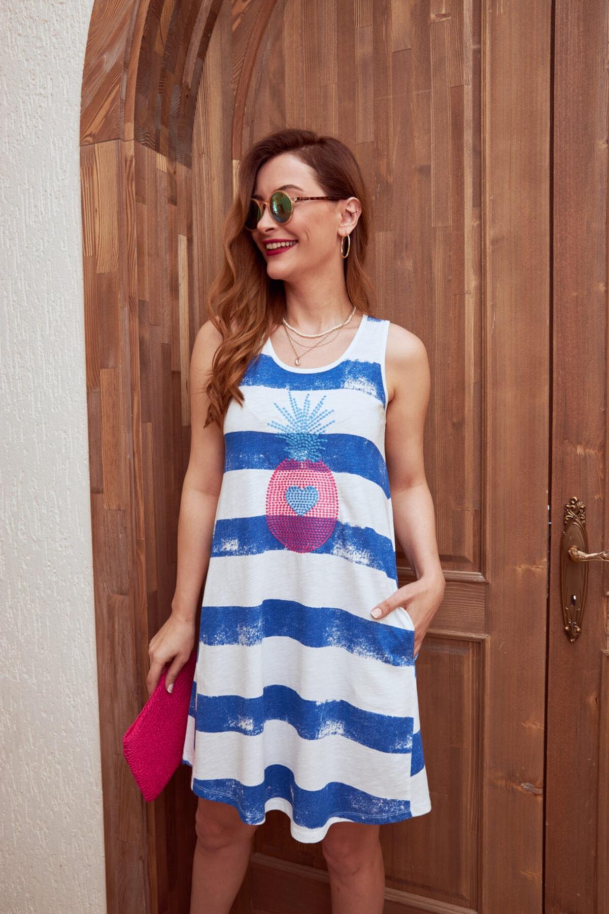 MYSUMMERBLUE Çizgili Önü Nakışlı Kolsuz Cepli Cancun Kadın Plaj/ev Elbisesi 2