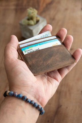 carmada Hakiki Deri Kahverengi Kartlık - 6+1 Çift Taraflı Kartlık