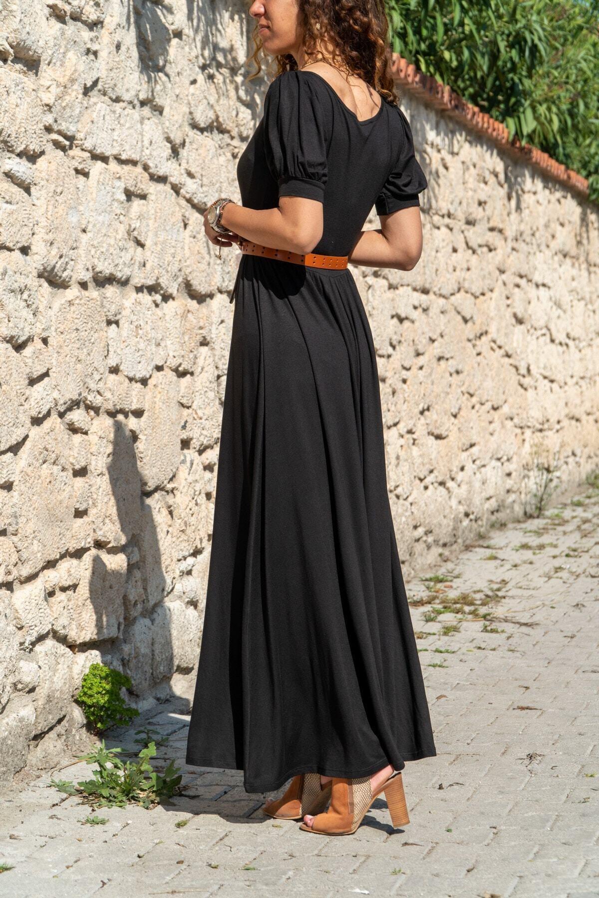 Güneşkızı Kadın Siyah Öpücük Yaka Uzun Kiloş Elbise 2