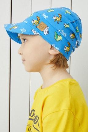 Babygiz %100 Pamuklu El Yapımı Ekstra Yumuşak Erkek Bebek Çocuk Vizyerli Mavi 4 Mevsim Şapka