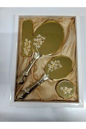 Lamazihome Gold Ayna Tarak Takımı Elbise Fırçası Bohça Çeyiz Seti Ayna Tarak 4 Parça