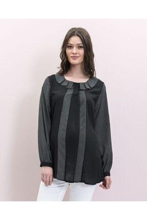 Even Fashion Hamile Giyim Yakası Pile Detaylı Hamile Bluz