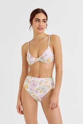 Pull & Bear Kadın Çiçekli Balkonet Bikini Üstü - En Az %50 Geri Dönüştürülmüş Polyester