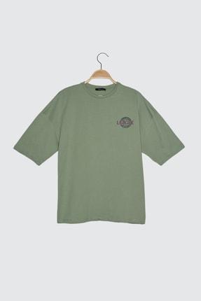 TRENDYOLMİLLA Mint Baskılı Oversize Örme T-Shirt TWOSS21TS3652