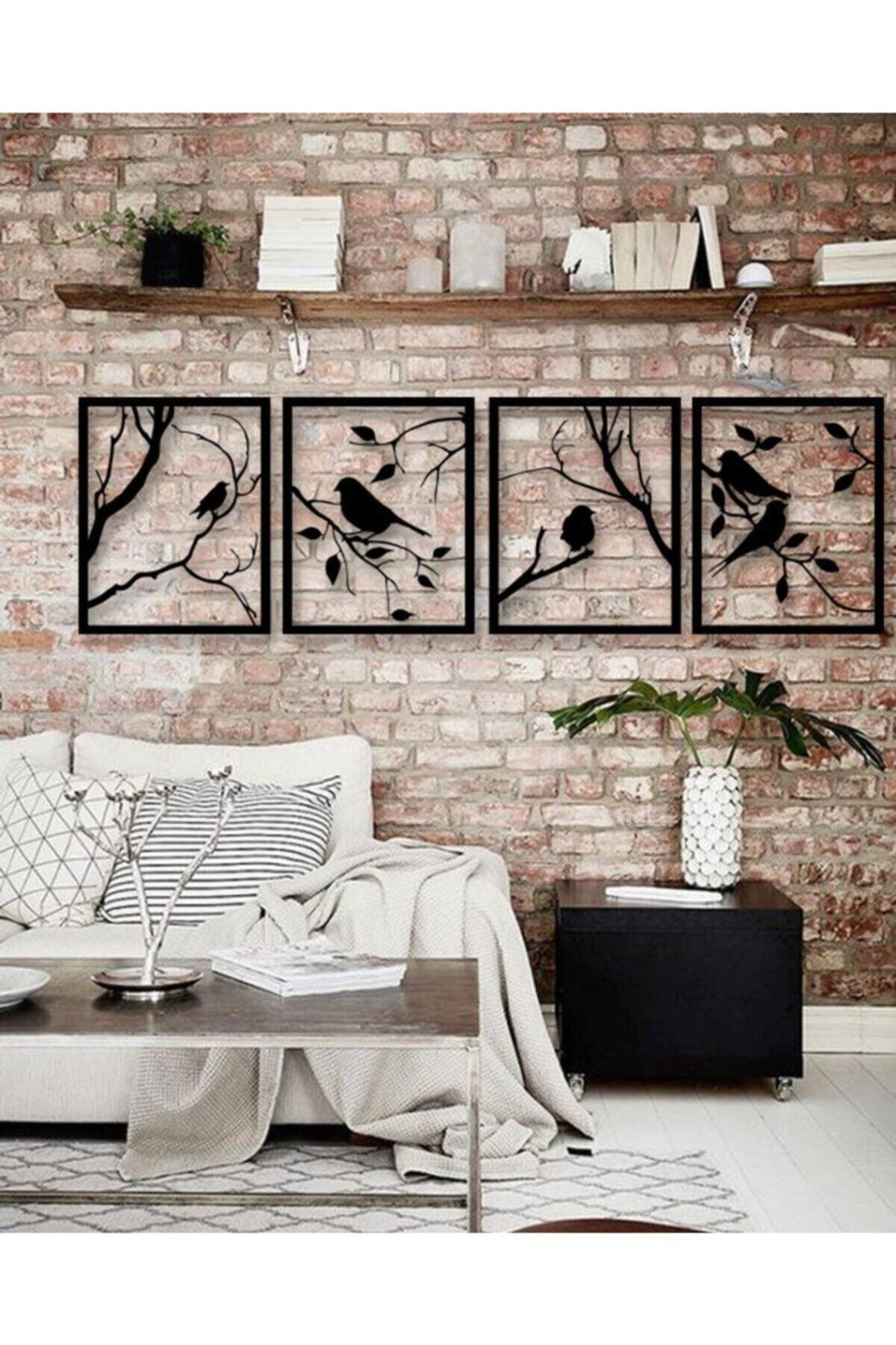YamanLazer Kuş Ve Ağaç Tasarımlı Ahşap Tablo 4'lü 1