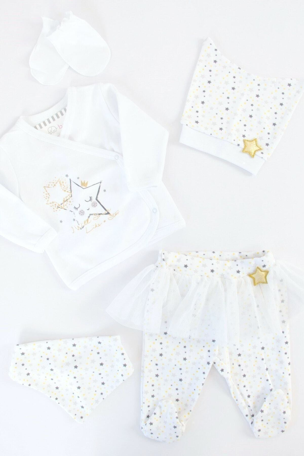 İmaj Bebek Beyaz Yıldızlı Kız 5'li Hastane Çıkışı 1