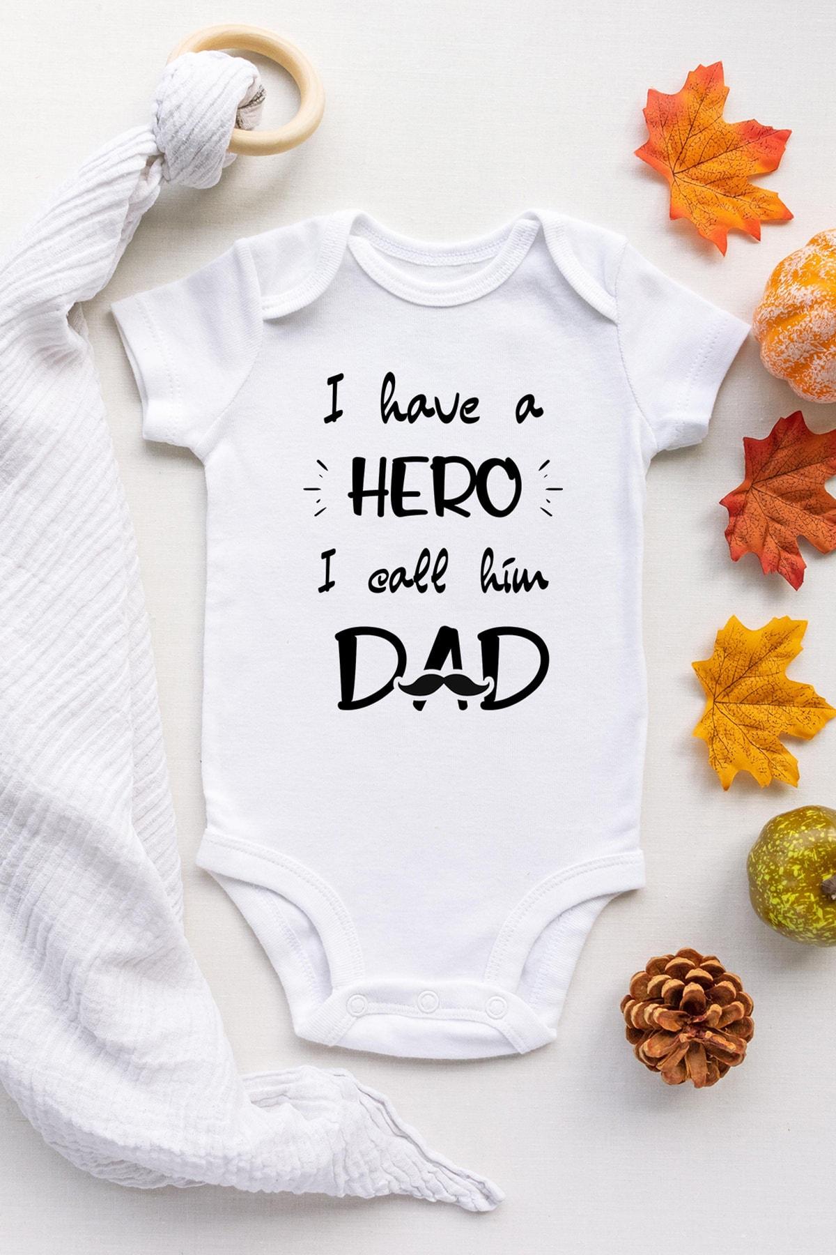Happy Onesie Co Unisex Beyaz Kahraman Babam Kısa Kol Çıtçıtlı Body 1