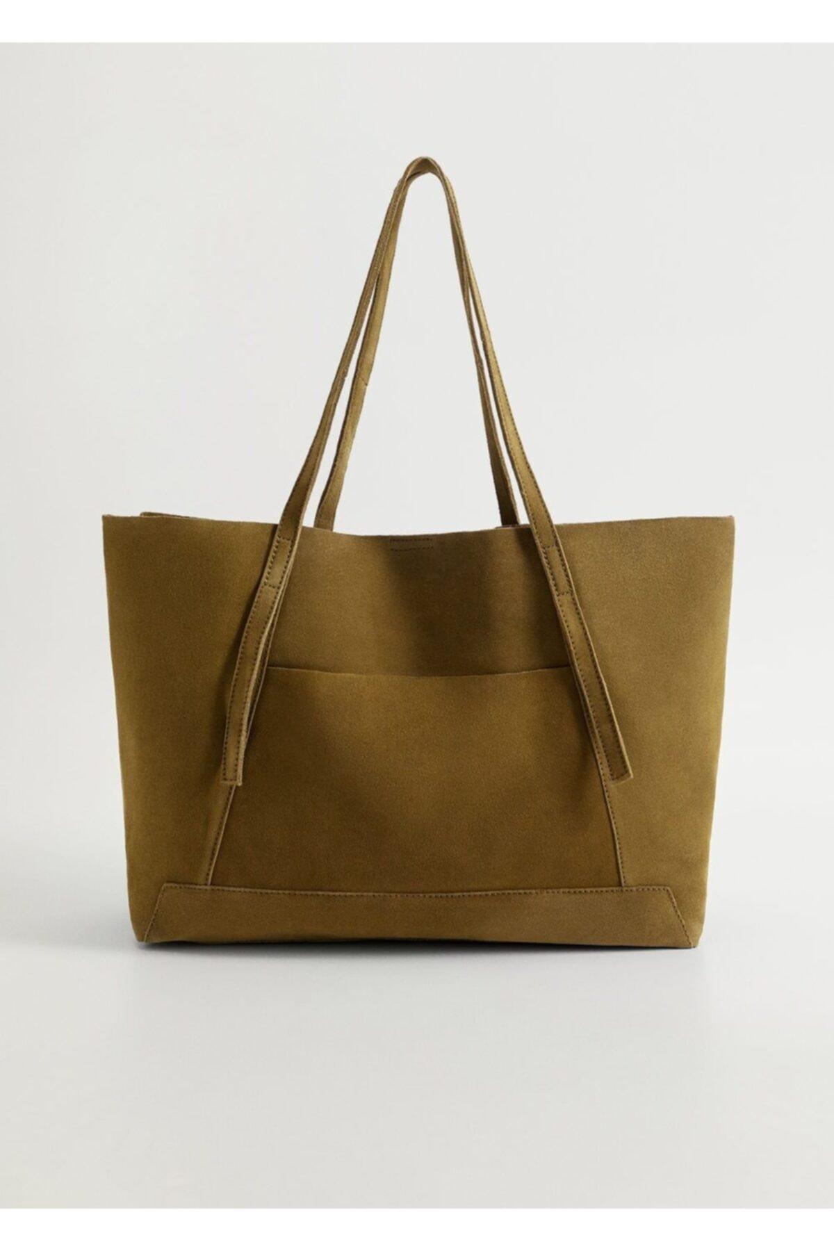 MANGO Woman Kadın Haki Deri Shopper Çanta 2