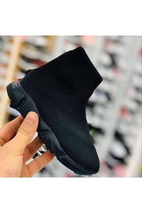 MİRKET Unisex Çocuk Siyah Kömür Triko Streç Çorap Spor Ayakkabı Snekaer