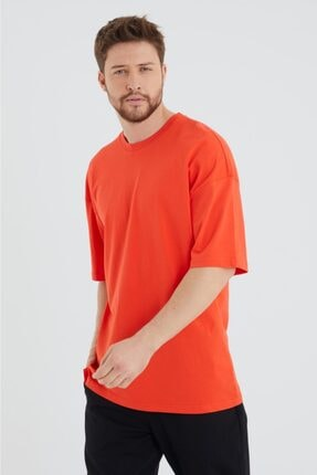 BREEZY Unisex Oversize Düz Renk Kırmızı Tshirt