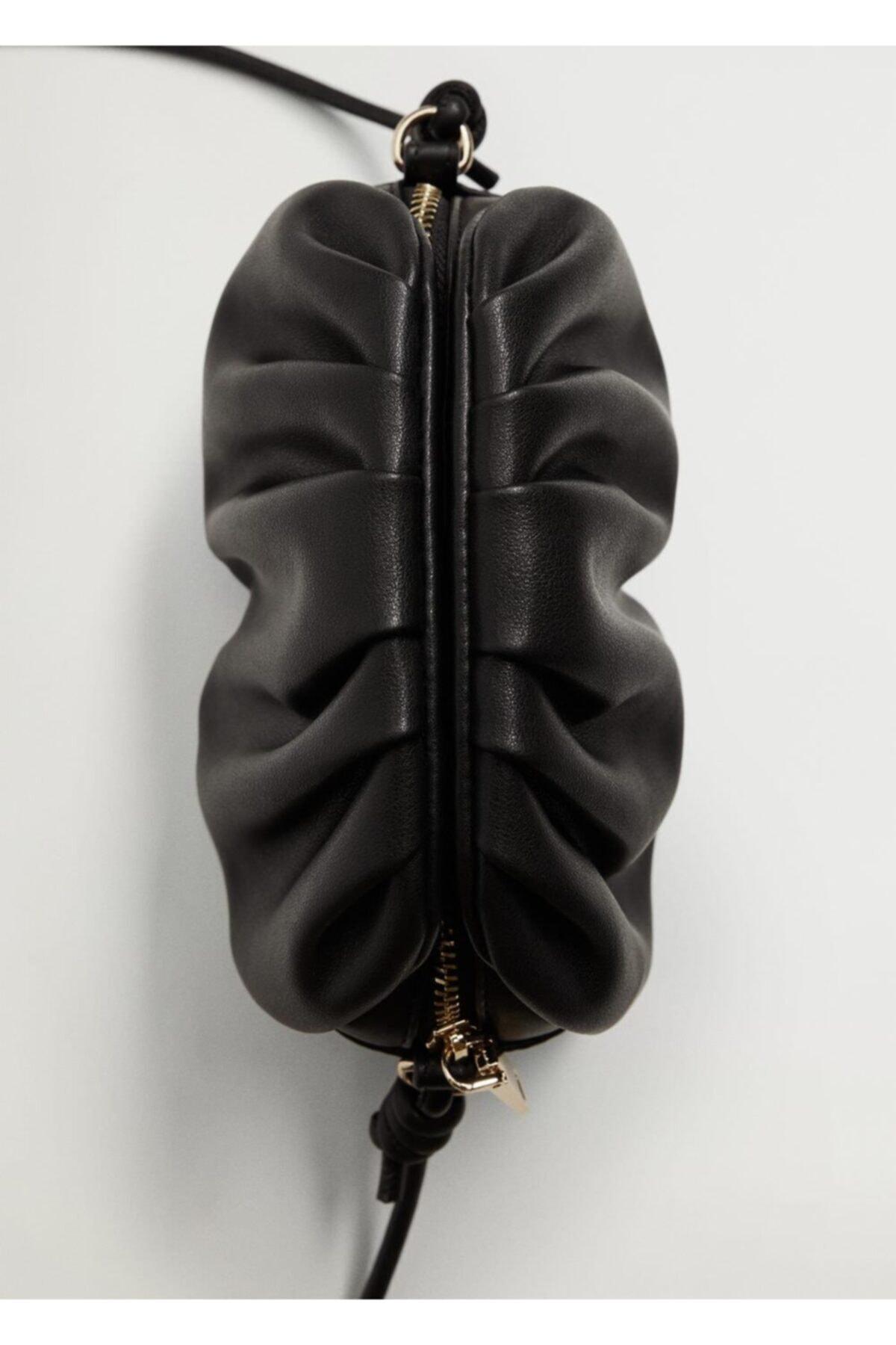 MANGO Woman Kadın Siyah Pilili Mini Çanta 1