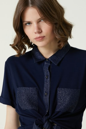 Network Kadın Basic Fit Lacivert Kısa Kol Gömlek 1079430