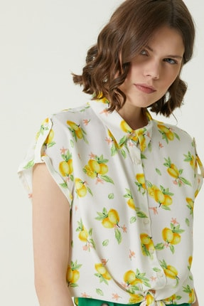 Network Kadın Basic Fit Beyaz Limon Desenli Gömlek 1079501