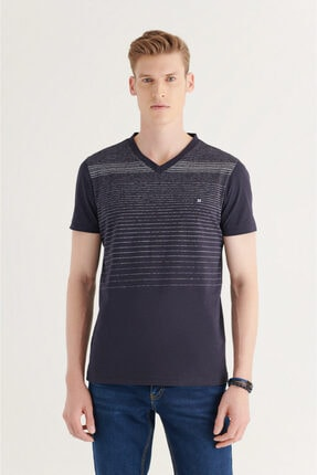 Avva Erkek Lacivert V Yaka Degrade Çizgili T-shirt A11y1106