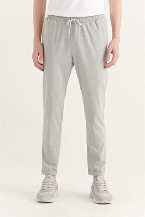 Avva Erkek Açık Gri Yandan Cepli Beli Lastikli Kordonlu Düz Relaxed Fit Pantolon E003000