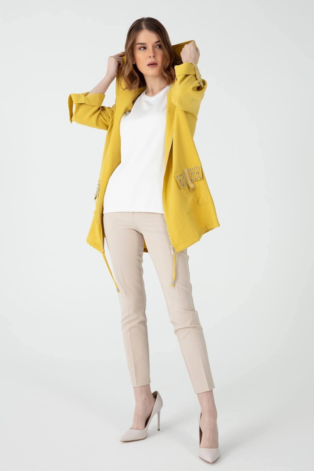 Desen Triko Kadın Cebi Işlemeli Keten Ceket Ce1104 Safran 1