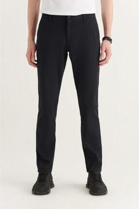 Avva Erkek Siyah Yandan Cepli Armürlü Slim Fit Pantolon A11y3036