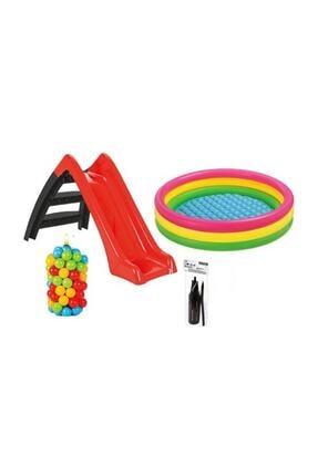 Vardem Kaydıraklı Oyun Seti (Sunset Havuz / 6 cm 100 ' lü Oyun Havuz Topu / Pompa / Kaydırak)