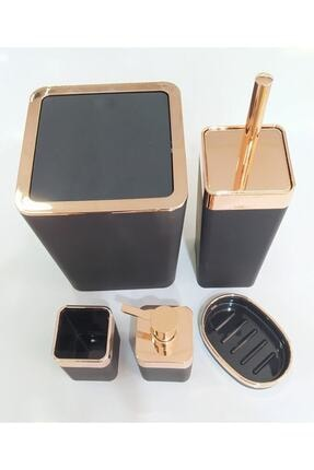 AROW Akrilik Banyo Seti Kare 5 Parça Kenarları Gold