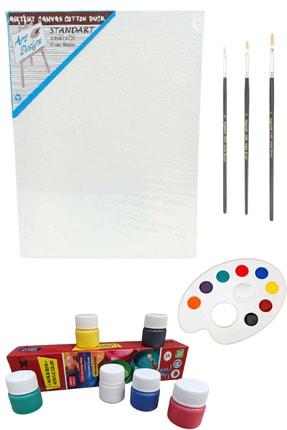 Oyun ve Sanat Resim Başlangıç Seti - Tuval, 3lü Fırça, Palet, 6'lı Akrilik Boya- Boyama Sanat Seti T.s