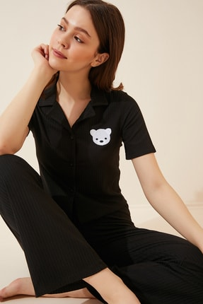 Happiness İst. Kadın Siyah Armalı Fitilli Örme Pijama Takımı KH00065