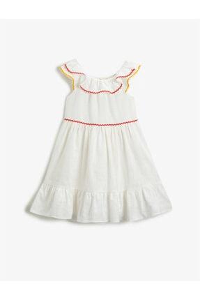 Koton Kız Çocuk Ekru Pamuklu Elbise