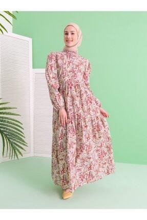 Loreen Kadın Gri Desenli Elbise
