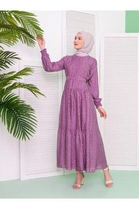 Loreen Kadın Leylak  Kuşak Detaylı Desenli Elbise
