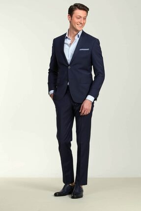 Kip Lacivert Regular Fit Pilesiz Mono Yaka 4 Drop Takım Elbise