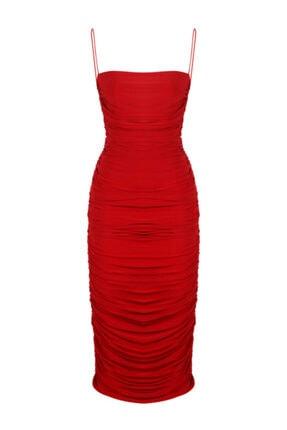 Whenever Company Kırmızı Ince Askılı Drapeli Midi Elbise