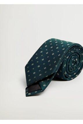 MANGO Man Erkek Yeşil Çiçekli Kravat