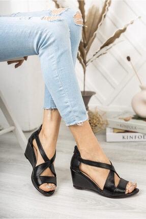 Deripabuc Hakiki Deri Siyah Kadın Dolgu Topuklu Deri Sandalet Dp38-0115