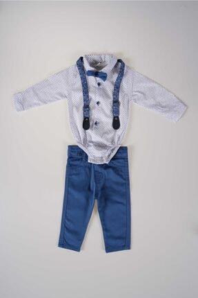 MİNİKO KİDS Erkek Bebek Mavi Papyonlu Pantolon Askılı Gömlek Takım