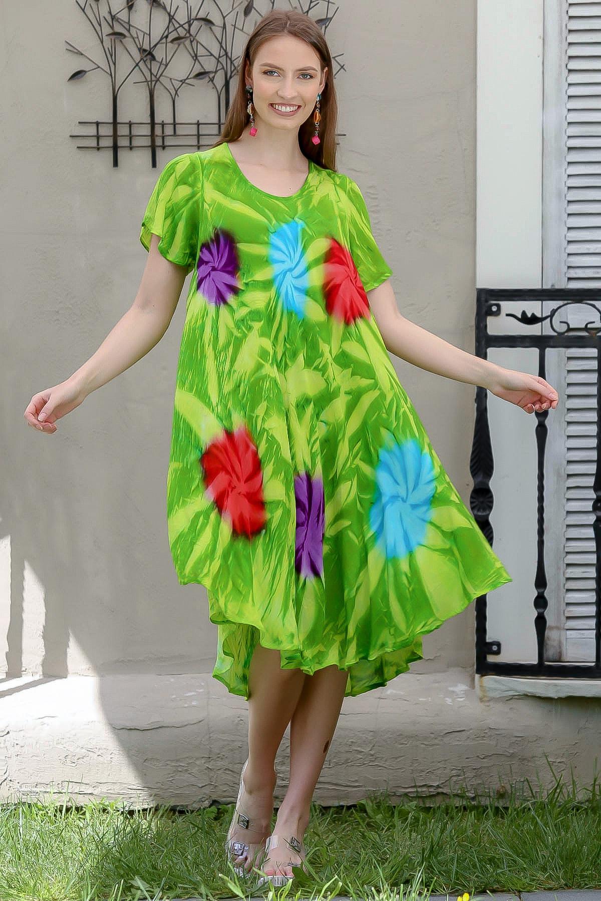 Chiccy Kadın Yeşil Kısa Kollu Çiçek Desenli Batik Salaş Elbise M10160000EL94902