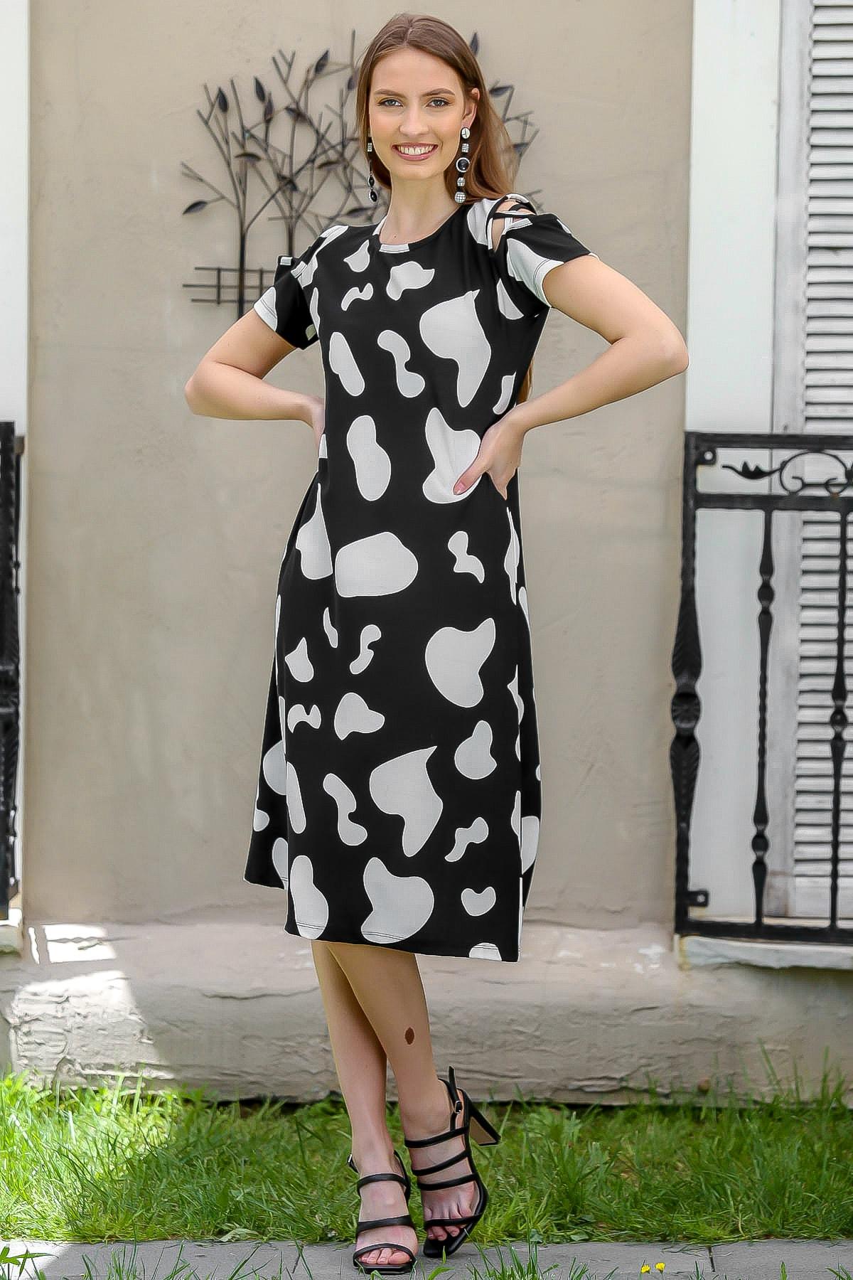 Chiccy Kadın Siyah Tüy Desenli Omuzları Biyeli Midi Elbise M10160000EL95021