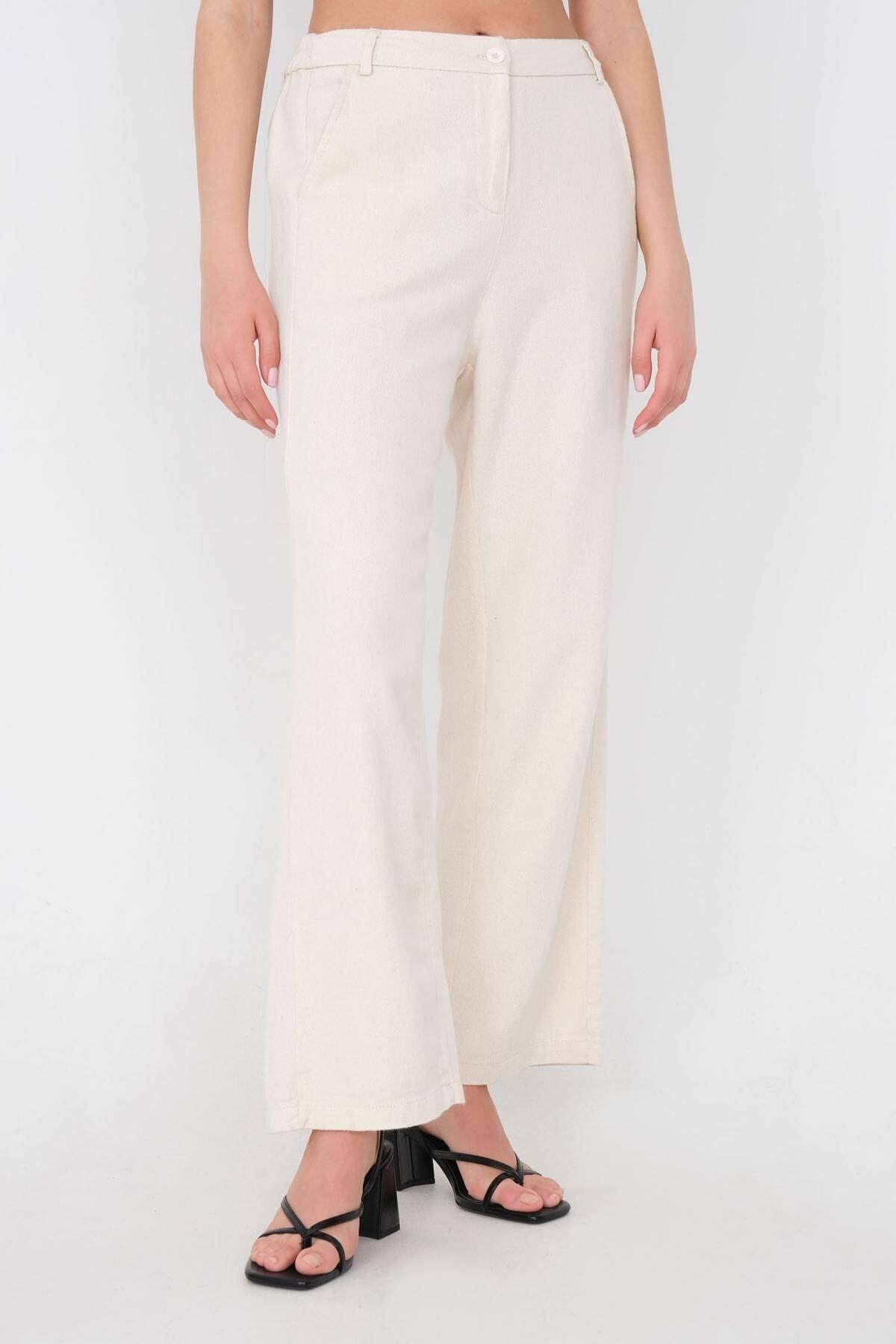 Addax Kadın Taş Bol Paça Pantolon Pn03-0034 - İ2 Adx-0000024276