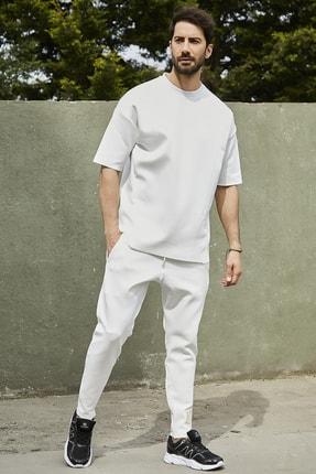 Sateen Men Erkek Beyaz Dalgıç Eşofman Takımı