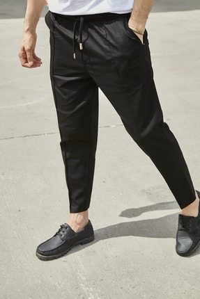 Sateen Men Erkek Siyah Dikişli Jogger Pantolon