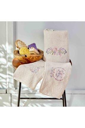 Karaca Home Elenie Bej Nakışlı 3lü Havlu Set