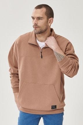 AC&Co / Altınyıldız Classics Erkek Vizon Oversize Günlük Rahat Yarım Balıkçı Yaka Spor Sweatshirt