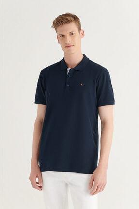 Avva Erkek Lacivert Polo Yaka Altı Baskılı Düz T-shirt A11y1078